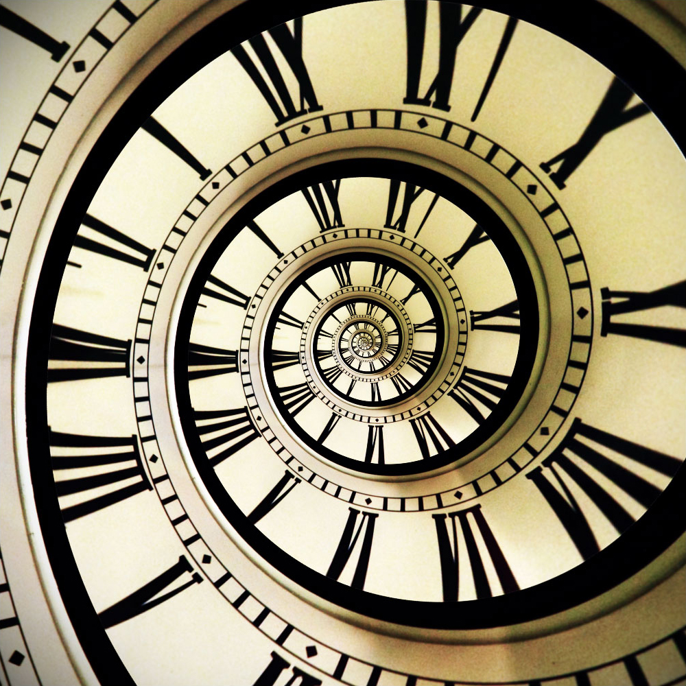 Surreal image of a clock bent in time